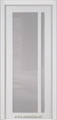 Белая глянцевая дверь из массива бука - Альбани