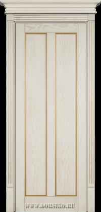 Крашенная межкомнатная дверь из ясеня Амати молочная эмаль с золотой патиной Blum Industry