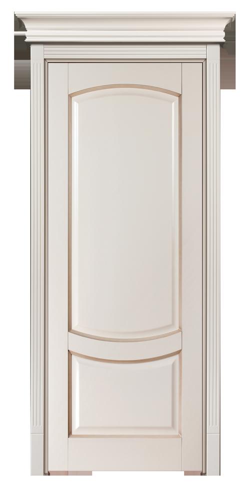 Крашенная дверь массив, скарнизом Белиский - бисквит с патинированием