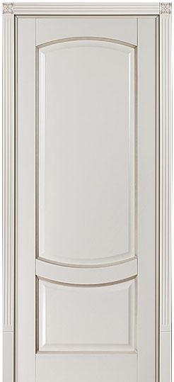 ПГ Белинский - крашенная дверь из натурального массива бука, цвет бисквит с патиной Мокко