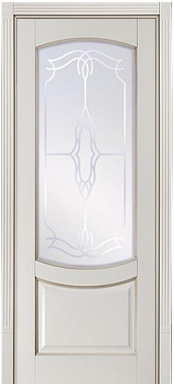 ПО Белинский - крашенная дверь массив с патиной и фрезерованными наличниками