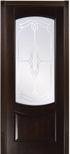Белинский бук массив - остекленной дверное полотно с темной тонировкой Грецкий орех