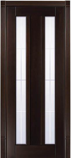 Дверь со стеклом Лермонтов Грецкий орех - фото
