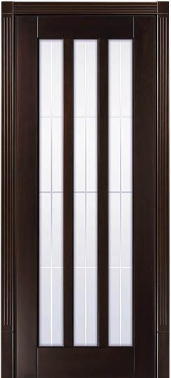 Остекленная дверь из 100% массива бука - Лермонтов в цвете Орех грецкий
