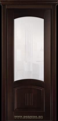 Межкомнатная дверь из бука Бетховен со стеклом в тонировке Грецкий орех BLUM Industry