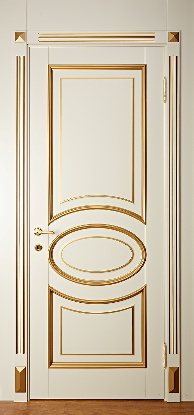 Дверь из массива ольхи крашенная, Брянский Лес - Капри - Слоновая кость с золотой патиной