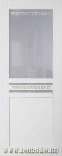Белая межкомнатная дверь Данте из массива бука с фисташковой патиной BLUM Industry