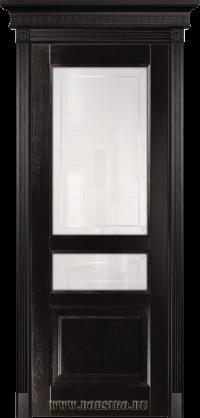 Темно-коричневая дверь из массива ясеня Дюма в тонировке Шервуд