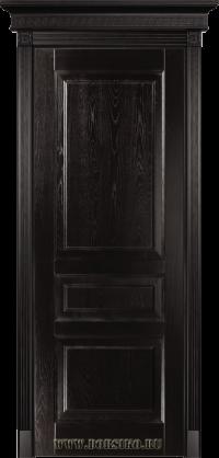 Темная деревянная дверь из массива ясеня с тремя филенками и тонировкой Шервуд - Дюма