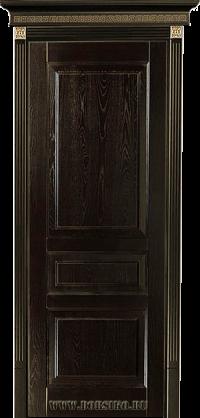 Черная с золотой патиной трехфиленчатая дверь из ясеня массив Дюма