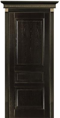 Черный с золотом Дюма - дверь из ясеневого массива с тремя филенками