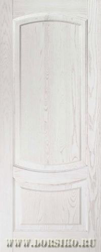 Классическая беленая межкомнатная дверь из массива Гёте Белый ясень с патиной Blum Industry