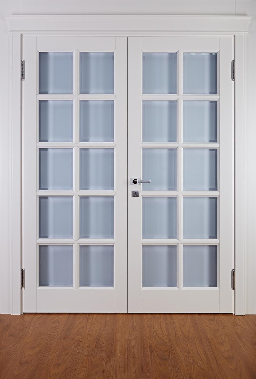 Двойная дверь крашеная белая из массива березы - Кантри от производителя