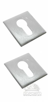 Специальная квадратная накладка на цилиндр дверного замка LUXURY хром матовый