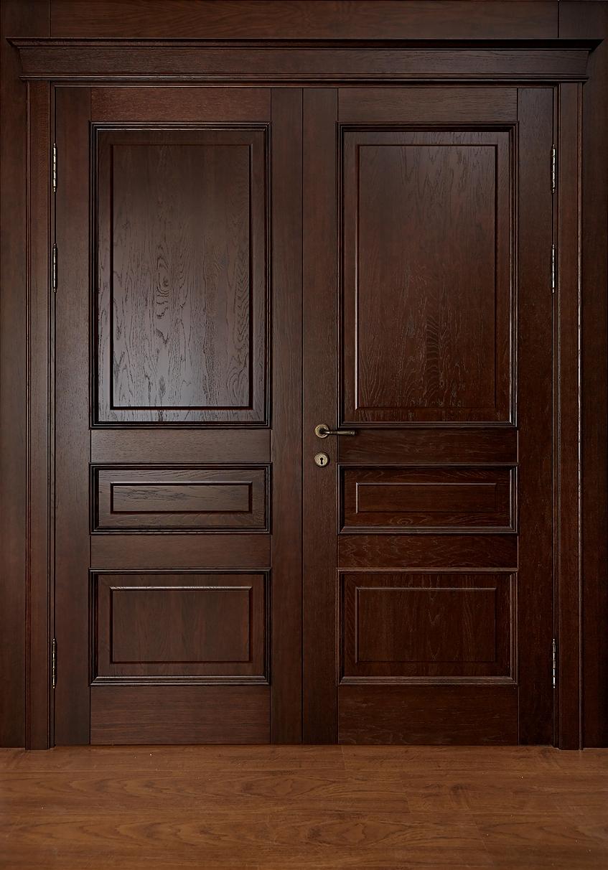 Двойная дверь из массива дуба - модель Леон, медовый дуб