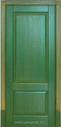Ясеневая дверь Рубенс зеленого цвета с патиной золото