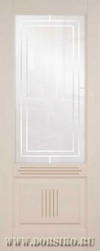 Межкомнатная дверь из бука Вагнер Блюм Индастри бисквитная эмаль с патиной Мокко со стеклом