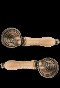 """Ручка дверная """"Мишель"""",  бронза состаренная с керамикой кофе"""