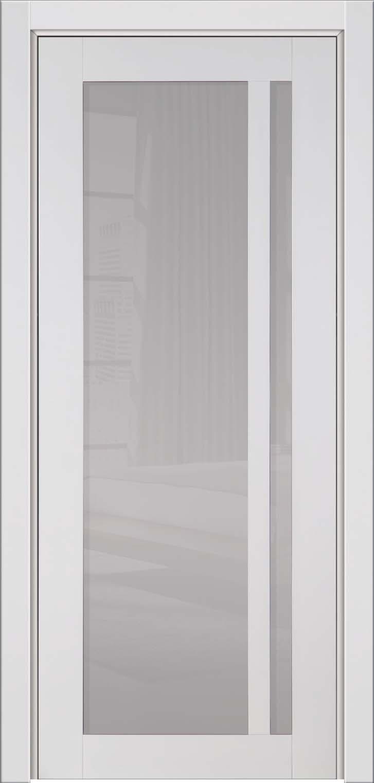 Глянцевая белая дверь массив Альбани с молочным стеклом