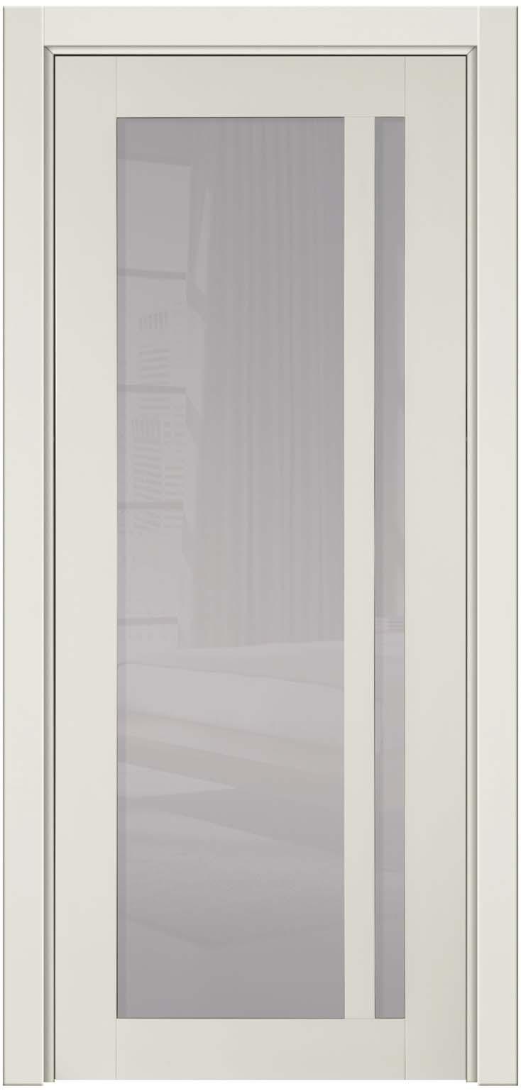 """Молочная глянцевая дверь и 100% массива бука с белым стеклом """"Альбани"""""""