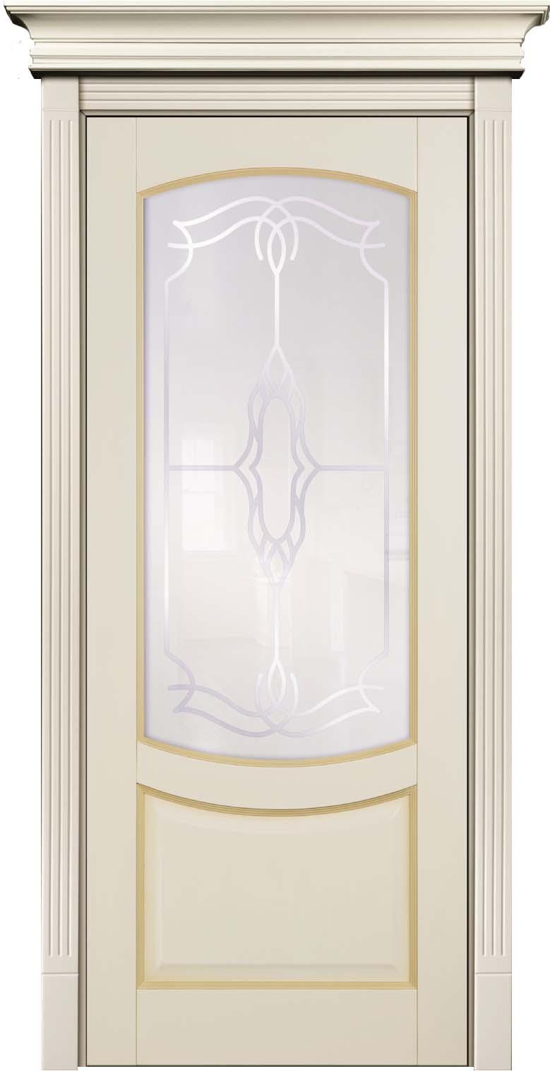 Остекленная крашеная эмалью межкомнатная дверь из массива дерева - Бук Белинский с патиной