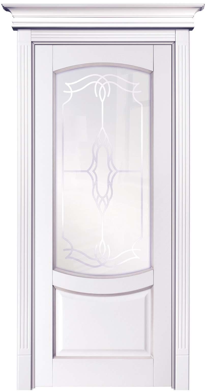 Крашенная дверь из массива бука с карнизом - Белинский, цвет лен спатиной Иней
