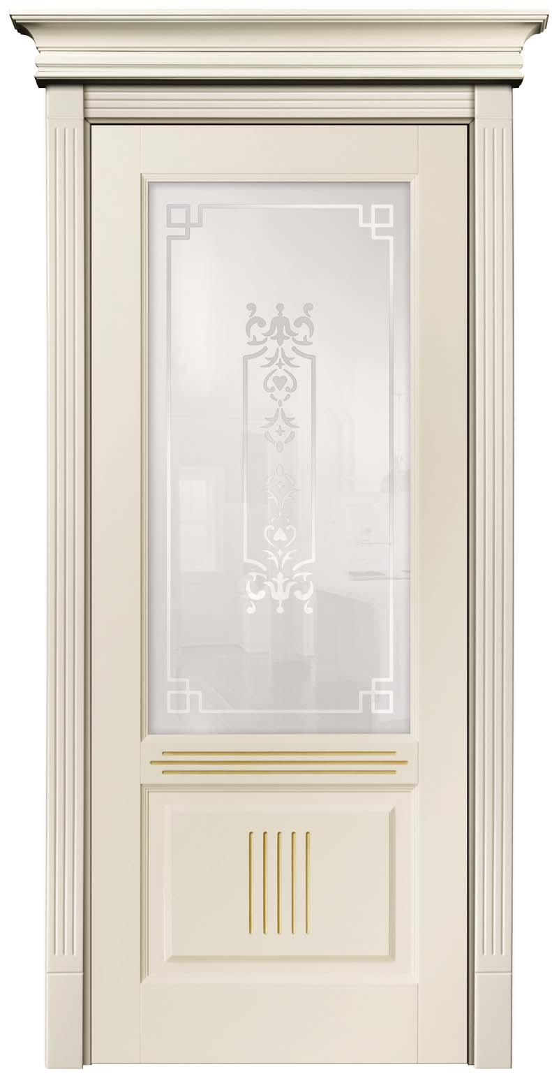 Державин - крашенная эмалью межкомнатная дверь из массива бука, бежевая (Слоновая Кость) с патиной