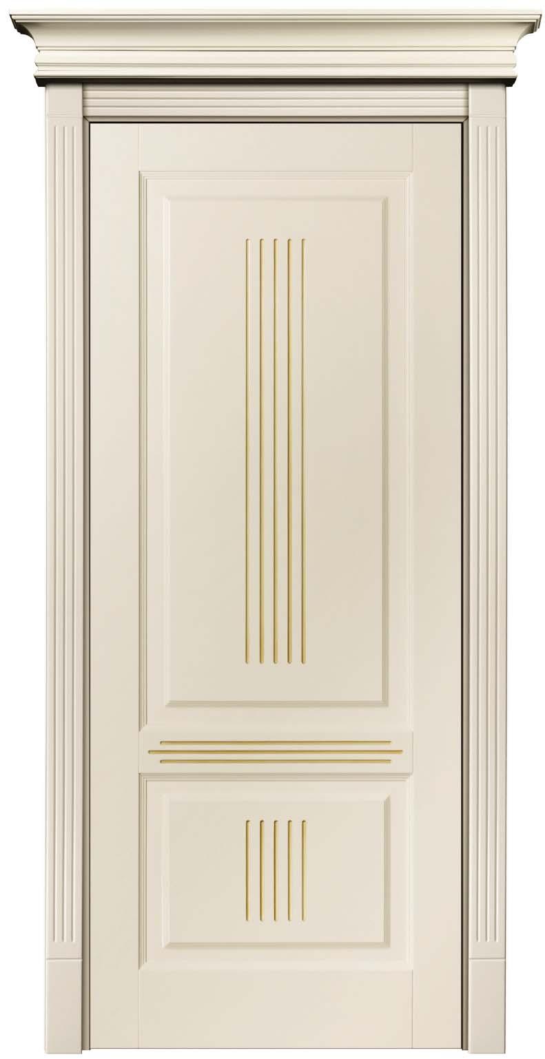 Патинированная дверь из массива окрашенная бежевой эмалью с патиной Карамель