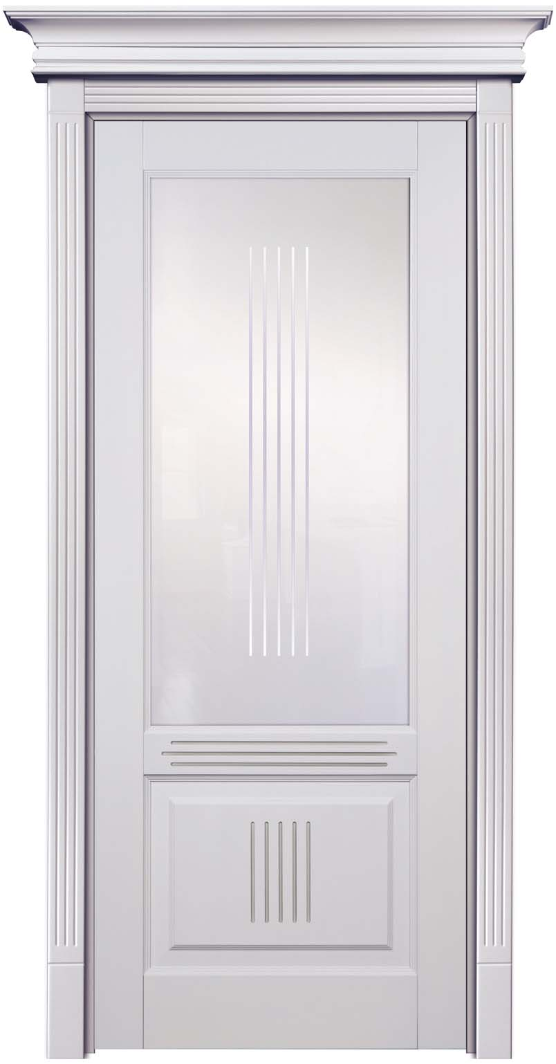 Остекленная крашеная эмалью дверь из натурального массива дерева бук - Державин Лен с патиной Иней