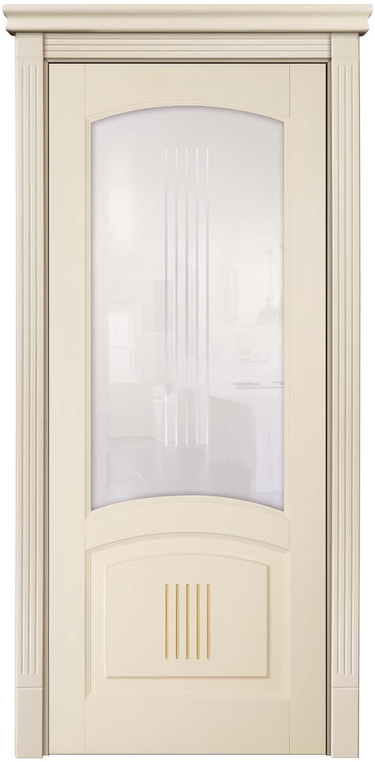 Буковая дверь окрашенная бежевой эмалью фирмы Hesse - модель Суворов с патиной