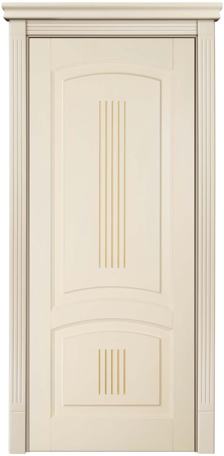 Дверь межкомнатная из калевочного профиля и натурального массива бука, крашенная бежевой эмалью с патиной - Державин