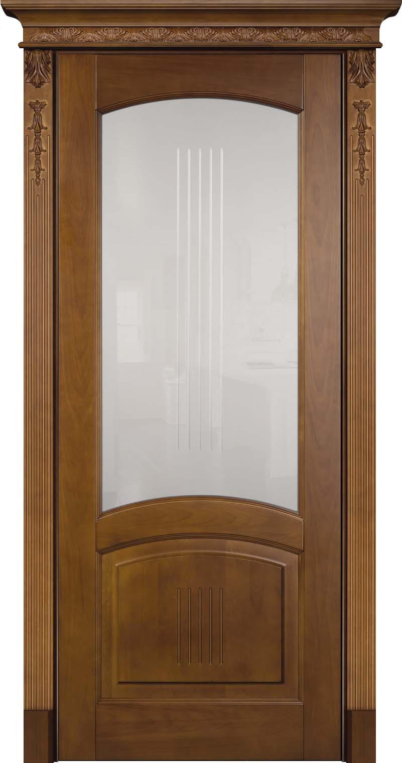 ПО Суворов - остекленная дверь из бука с капителью и резными балясинами в легендарной тонировке байцем - Светлый Дуб