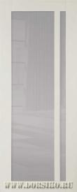 Межкомнатная дверь из массива бука Альбани молочный глянец с черным стеклом  BLUM Industry