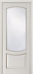 Окрашенная эмалью дверь из массива Белинский - белая или бисквит с патиной