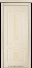 Глухая крашеная дверь из массива бука Бетховен Блюм Индастри бежевая с карамельной патиной