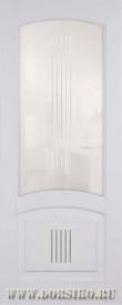 Крашеная межкомнатная дверь из бука со стеклом Бетховен Лён с патиной Иней BLUM Industry