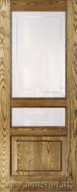 Ясеневая дверь межкомнатная из массива дерева со стеклами Дюма Рустик Блюм Индастри