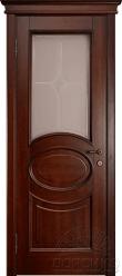 Капри — дверь из массива ольхи со стеклм - Старый орех