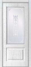 Межкомнатная деревянная дверь из сращенного массива Рубенс Белый Ясень и патина Blum Industry