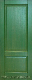 Зеленая с золотой патиной межкомнатная дверь из 100% массива ясеня Рубенс Блюм Индастри