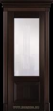 Дверь из массива бука межкомнатная Вагнер BLUM Industry со стеклом в тонировке Орех Грецкий