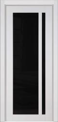 Глянцевая белая дверь массив Альбани с черным стеклом