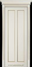 Глухая межкомнатная дверь из бука Амати Блюм Индастри молочная эмаль с золотой патиной