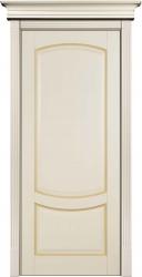 Бежевая эмалированная дверь из массива бука - модель Белинский с патиной