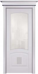 ПО Суворов - остекленная дверь межкомнатная из бука массив, окрашенная бежевой эмалью Слоновая кость с патиной