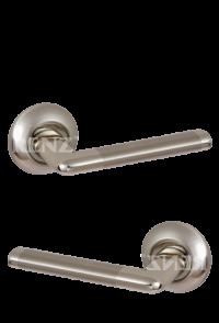 """Ручка дверная """"Тренто"""", никель матовый + никель"""